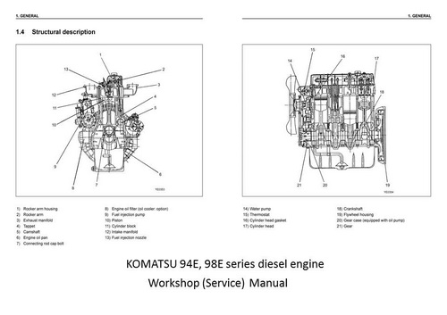 Komatsu 95  98 Series Engine Manuals  U0026 Parts Catalogs