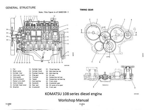 komatsu 107  108 series engine manuals  u0026 parts catalogs