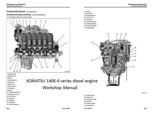 komatsu 130 132 137 140 engine manuals parts catalogs rh engine od ua